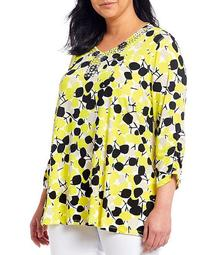 Plus Size Abstract Print Knit Embellished V-Neck 3/4 Sleeve Swing Top