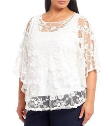 Plus Size Sheer Mesh Embroidered Sequin Embellished Detail Butterfly Top