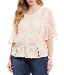 Plus Size Butterfly Sleeve Peplum Crochet Top