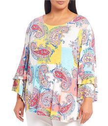 Plus Size Knit Fresco Paisley Print 3/4 Flounce Sleeve Top