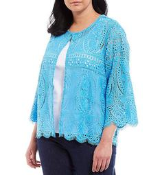 Plus Size Lace 3/4 Sleeve Scallop Trim Open Front Jacket