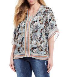 Plus Size Floral Border Print V-Neck Kimono Sleeve Top