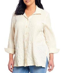Plus Size Solid Crinkle Gauze Button Down 3/4 Sleeve Swing Shirt