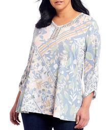 Plus Size Multi Floral Patchwork Print Knit Embellished V-Neck 3/4 Sleeve Swing Top