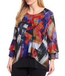 Plus Size Abstract Brushstroke 3/4 Bell Sleeve Tunic