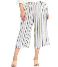Plus Size Stripe Print Crepon Pull-On Capri Pants