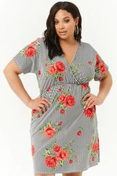 Plus Size Rose Print Striped Surplice Dress