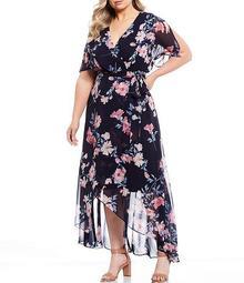 Plus Size Chiffon Floral Faux Wrap Hi-Low Midi Dress