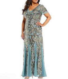 Plus Size Allover Sequin Embroidered Mermaid Gown