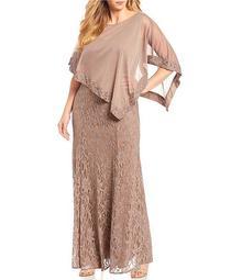 Plus Size Asymmetric Chiffon Poncho Lace Gown