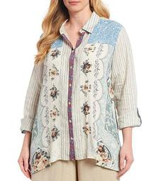 Plus Size Woven Mixed Print Button Front Beaded Crepe Tunic