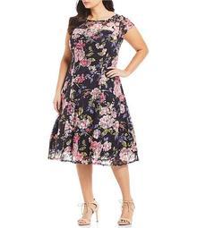 Plus Size Floral Lace Cap Sleeve A-Line Midi Dress