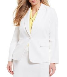 Plus Size Long Sleeve Twill One-Button Jacket