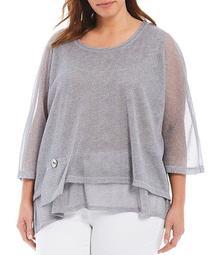 Plus Size Scoop Neck 3/4 Sheer Dolman Sleeve Layered Tunic