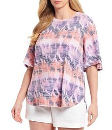 Plus Size Tie Dye Multi Flutter Sleeve Top