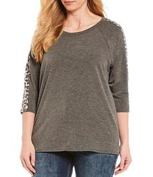 Plus Size Leopard Print Sleeve Detail Solid Top