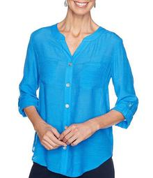 Plus Size Silky Gauze Roll-Tab Sleeve Button Front Top