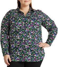 Plus Size Floral Print Cotton Button Down Shirt