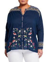 Plus Size Gisella Floral Embroidered Voile Button-Down Blouse
