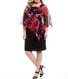 Plus Size Embellished Shoulder Chiffon Floral Print Popover Sheath Dress