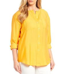 Plus Size 3/4 Sleeve Button Front Tunic