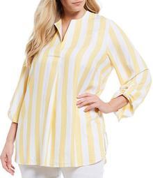 Plus Size Cabana Stripe Split V-Neck Roll-Tab Sleeve Twill Top