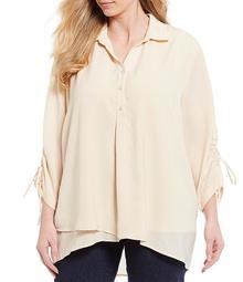 Plus Size 3/4 Drawstring Sleeve Tulip Front Hem Shirt