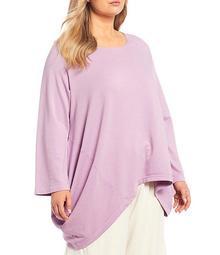 Plus Size Deca Bamboo French Terry Asymmetric Hem Tunic Shirt