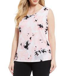 Plus Size Floral Printed Knit U-Neck Cami