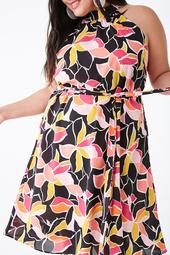 Plus Size Floral Sleeveless Midi Dress