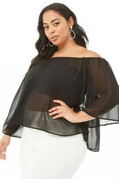 Plus Size Sheer Off-the-Shoulder Top