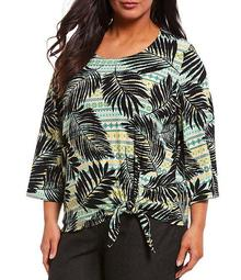 Plus Size Palm Multi Print Rib Knit 3/4 Sleeve Side Tie Top