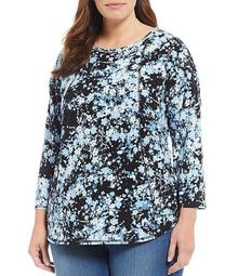 Plus Size 3/4 Sleeve Seam Garden Floral Print Cotton Blend Tee