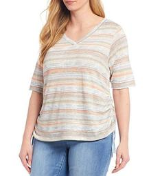 Plus Size V-Neck Side Ruched Stripe Knit Tee