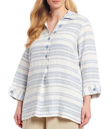 Plus Size 3/4 Sleeve Striped Tunic