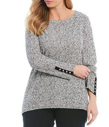 Plus Size Space Dye Texture Knit Jersey Boat Neck Long Sleeve Top
