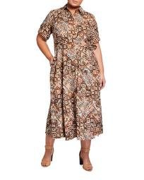 Plus Size Belted Button-Front Maxi Dress
