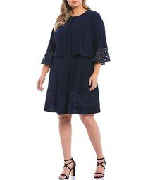 Plus Size 2-Piece Lace Trim Bell Sleeve Fit and Flare Jacket Dress