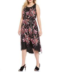 Plus Size Floral Embroidered Halter Midi Dress