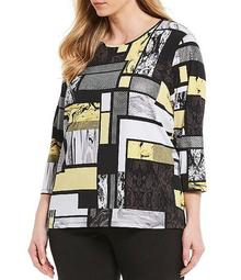 Plus Size Yellow Windows Print Knit Jersey Foil Detail 3/4 Sleeve Top