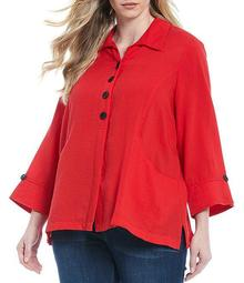 Plus Size Large Pocket Button Placket French Cuff Sleeve Tunic