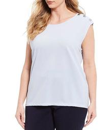 Plus Size Stretch Crepe Button Trim Shoulder Detail Sleeveless Top