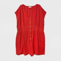 Women's Plus Size Short Sleeve Romper - Universal Thread™ Red