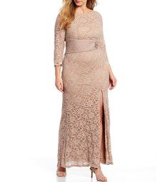 Plus Size Sequin Glitter Stretch Lace Bead Applique Shirred Waist Gown