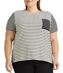 Plus Size Striped Cotton Blend One Pocket Tee