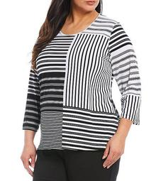 Plus Size Striped Colorblock 3/4 Sleeve Knit Jersey Top