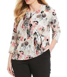 Plus Size Coral Stormy Dream Print Knit Jersey Foil Detail 3/4 Sleeve Top