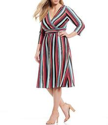 Plus Size Striped Ruched Waist Detail Jersey Midi Dress
