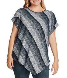 Plus Size Short Sleeve Striped Melange Ombre Sweater Knit Asymmetrical Hem Tee