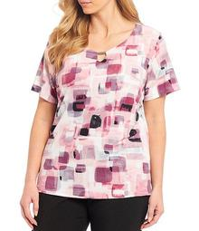 Plus Size Abstract Geo Print Keyhole Neck Knit Jersey Top